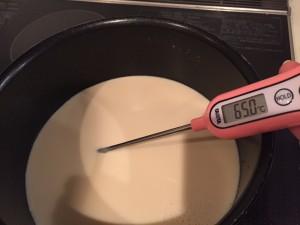 豆乳を65℃に温める