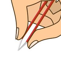 ①人指し指と親指で毛抜きを軽くつまむ (1)