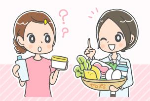 色素沈着の対策が可能な食材を説明する女性医師