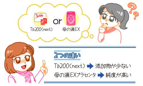 TP200nextと母の滴プラセンタEXの比較