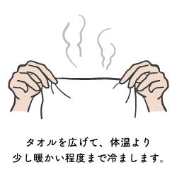 蒸しタオルを冷ます