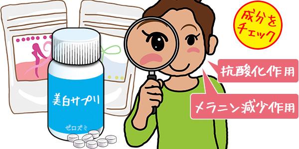 そばかすのケアは抗酸化作用の入った美白サプリが良いというイラスト